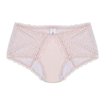 Amazon.com  Womens Incontinence Underwear Boy Leg Lace -Beige-L ... d6eb12154