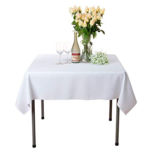VEEYOO Square Tablecloth 100% Polyester Table Cloth for Indoor and Outdoor Table - Solid Dinner Tablecloth for Wedding Party Restaurant Coffee Shop (White, 54x54)