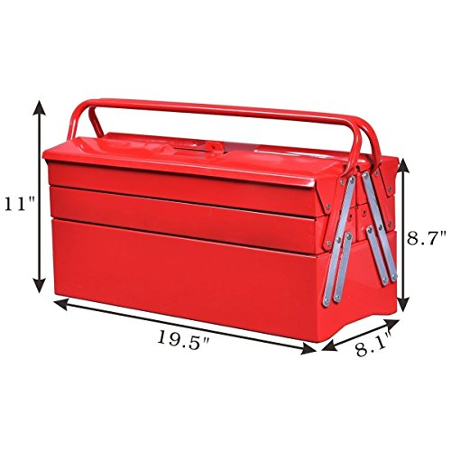 Goplus 20 Inch Portable 5 Tray Cantilever Metal Tool Box