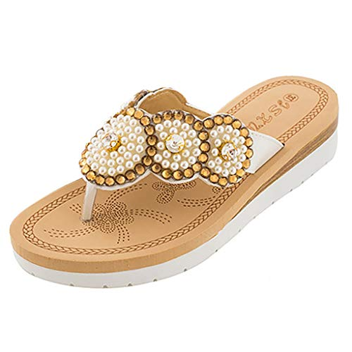 New in Respctful✿Women's Bohemian Summer Platform Wedge Beach Flip Flop Toe High Heel Thong Sandals White