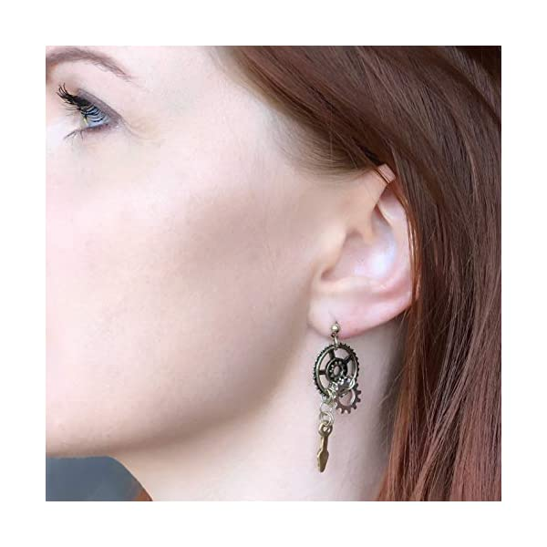 Steampunk Jewelry: Halloween Statement Earrings Gears Mixed Metal 5