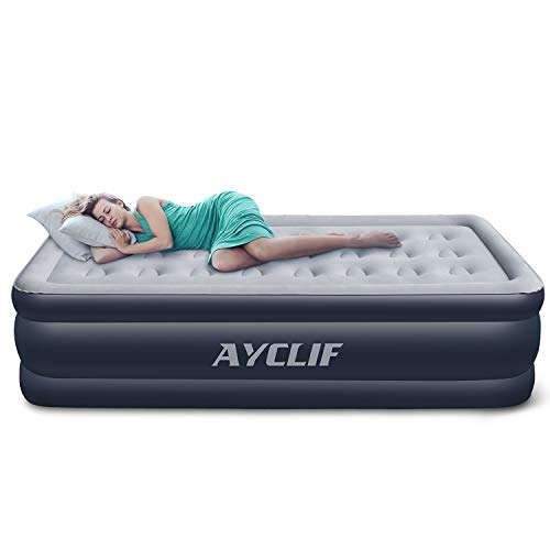 AYCLIF Upgraded Air Mattress Twin Size Blow Up Raised Airbed, Cup Hole Inflatable Mattress with Built-in Electric Pump Easy to Transport & Store and Repair Patches Included, 80x40x18 inches