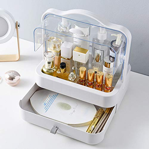 (Fine Dust-Proof Makeup Organizer, Cosmetic and Jewelry Storage with Dustproof Lid, Display Boxes with Drawers for Vanity, Skin Care Products Rack Dressing Table Desktop Finishing Box (WhiteC))