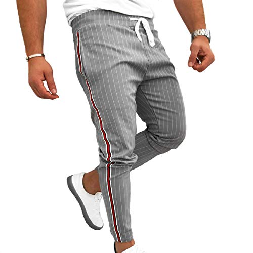 Evaliana Men Striped Casual Pants Fashion Trousers Adjustable Drawstring Grey