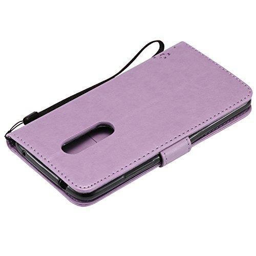 ZTE A110 Flip Cuero Funda - Alta Calidad Cuero de la PU /Stent/Billetera/Paquete de Tarjetas/Proteccion Caso Cubrir para ZTE A110(Rosa) Púrpura