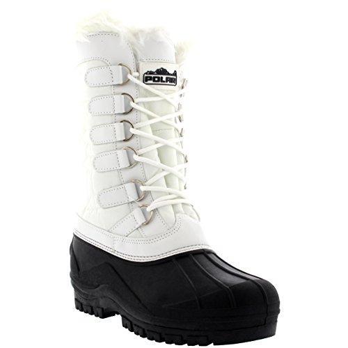 Kvinna Nylon Kallt Väder Utomhus Snö Anka Vintern Regn Spets Boot White