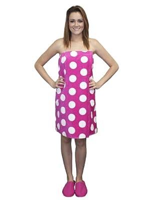 Polka Dot Bath Wrap Women's 100% Water Absorbent Washable Spa Pool Shower Wrap