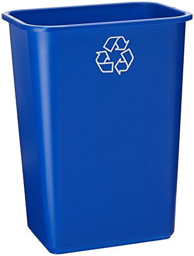 United Solutions EcoSense WB0069 Blue Plastic 41 Quart Recycling Indoor Wastebastket-10.25 Gallon EcoSense Blue Recycling Trash/Refuse Can in -