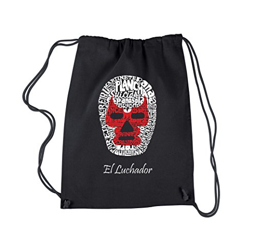 Drawstring Word Art Design Backpack - MEXICAN WRESTLING MASK by LA Pop Art