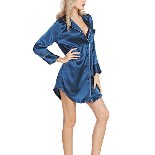 Dolamen Camisón para mujer, Mujer Camisones raso Camisa de dormir, Nightdress manga larga, Lujo y AtractivoCheck Buttoned collar de la camisa con el bolsillo Azul