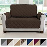 MIGHTY MONKEY Premium Reversible Chair and a Half Slipcover, Seat Width to 48' Furniture Protector, 2' Elastic Strap, Machine Washable Armchair Slip Cover, Kids, Dogs (Chair & a Half: Chocolate/Taupe)