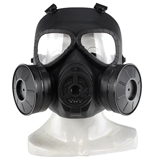 WOLFBUSH Airsoft Full Mask Skull Dummy Toxic Gas Mask Tactical Protective Mask for CS Cosplay Costume Halloween Masquerade (Black)]()