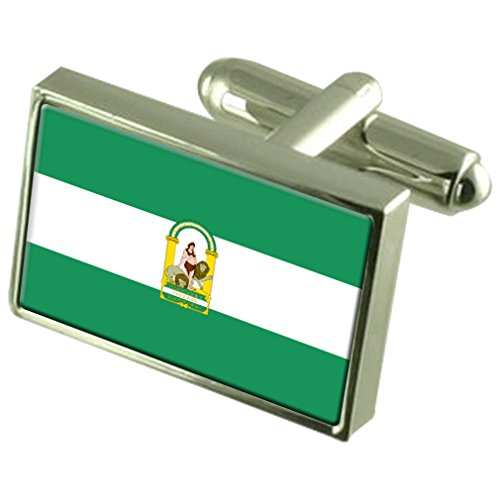 Andalucia Sterling Silver Flag Cufflinks by Select Gifts