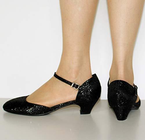 Rock on Styles Womens Ladies Party Evening Bridal Sparkly Dress Low Block Heel Flat Court Shoes Sandals Pumps Ankle Straps Court Shoes 665