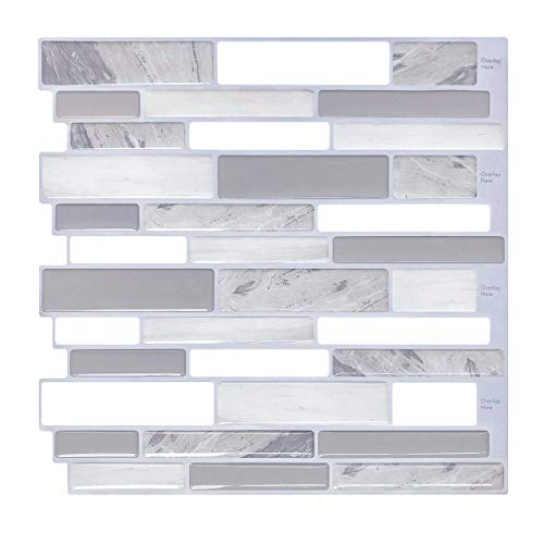 "Peel and Stick Backsplash Subway Tiles, Modern Vinyl Backsplash Anti Corrosion Sticker Tiles for Kitchen 10"" H x 9.8"" L Pack of 5"