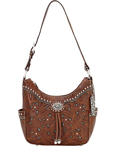 American West Lady Lace Zip Top Everyday Shoulder Bag,Mocha Tan/Turquoise,One (American West Leather Handbag)