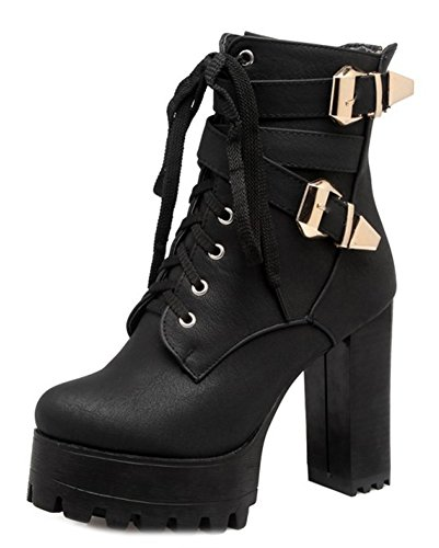 Aisun High Cool Chunky Boots Lace Two Women's Heels Shoes Black Up Buckle HHn7BrO
