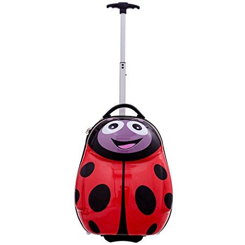 Goplus 2Pc 13'' 19'' Kids Carry On Luggage Set Travel Trolley Suitcase (Ladybug) by Goplus (Image #4)
