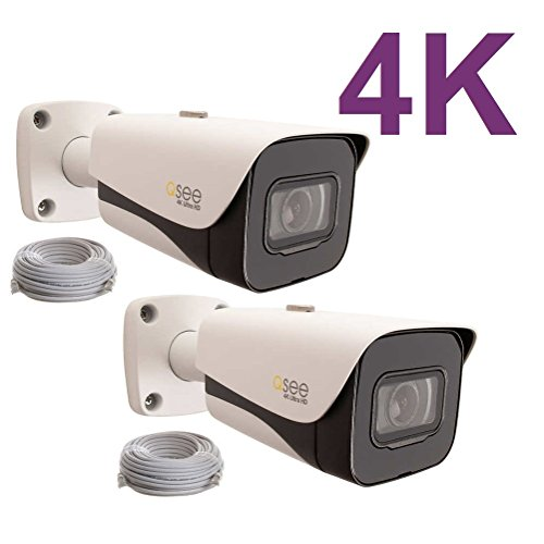 Video Q-see Surveillance - Q-See 4K 8MP HD QC IP Series Bullet Security Camera with Color Night Vision and H.265+ (2-pack QCN8093B)
