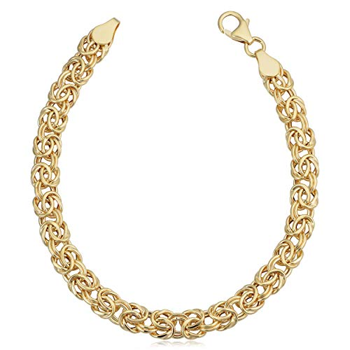 Kooljewelry 14k Yellow Gold Byzantine Bracelet (6.7 mm, 7.5 inch)