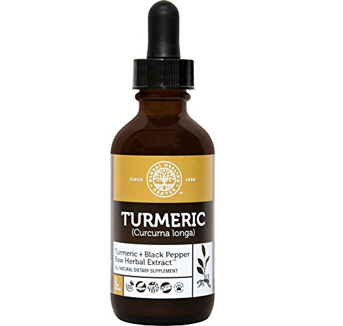 Global Healing Center All Natural Turmeric Liquid Raw Herbal Extract Supplement with Black Pepper for Maximum Absorption – Made from Organic Turmeric Root Curcuma Longa (2 Ounces)