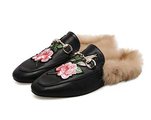 Square invierno bordado Black flores e felpa Slippers pisos tamaño Mules nuevas otoño 2017 Eu encantadoras Mujeres Toe Cool 34 40 dwvdF