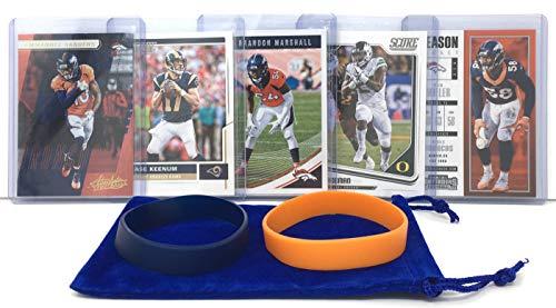 Brandon Marshall Youth Jersey - Denver Broncos Cards: Case Keenum, Emmanuel Sanders, Von Miller, Royce Freeman, Brandon Marshall ASSORTED Football Trading Card and Wristbands Bundle