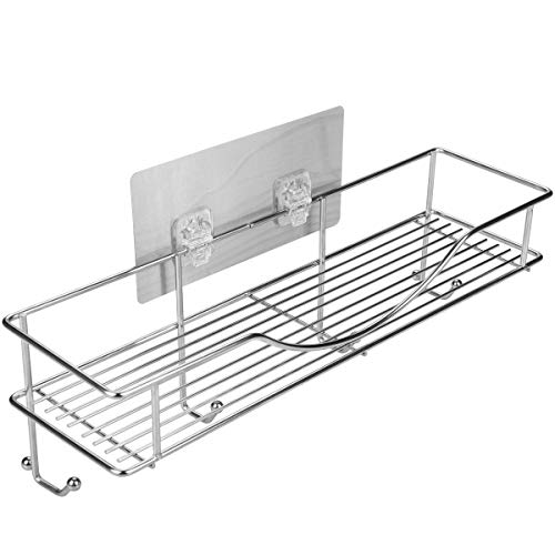 AISHN Bathroom Towel Shelf/Kitchen Holder, 304 Stainless Steel Vacuum Super Silicone Storage Rack, Space-Saving Rack Includes 4 Hooks by AISHN