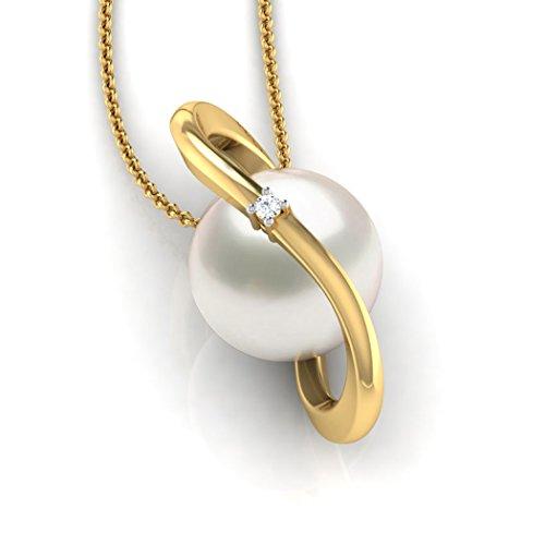 14K Or blanc 0,01carat au total Round-cut-diamond (IJ   SI) et perle Pendentif