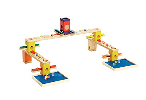 Hape Quadrilla Wooden Marble Run Construction - Music Motion - Quality Time Playing Together Wooden Safe Play - Smart Play for Smart Families (Quadrilla Twist Marble)