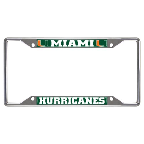 FANMATS  14913  NCAA University of Miami Hurricanes Chrome License Plate Frame University License Plate Frame