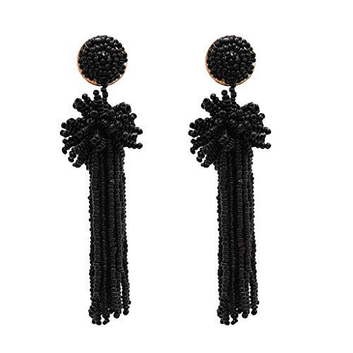 MONISE- Jewelry Fringe Drop Earring for Women Girls Bohemian Tassel Drop Vintage Retro Tassel Dangle Boho Drop Earrings Eardrop for Women(Black)