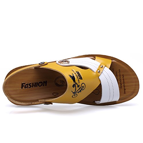 Outdoor Men's Casual Soft Career Office Outdoor Breathable Summer amp; 39 Size Beach C Slippers Leather Sandals HUAN Color q1zOx5ndwq