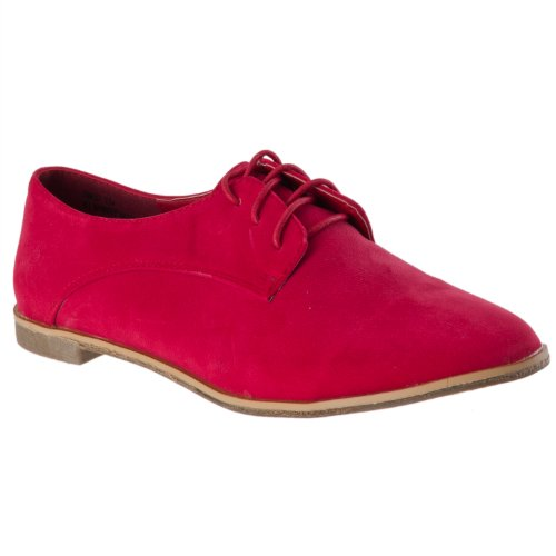 Styluxe Mujeres Finest Microsuede Oxfords, Black Coral