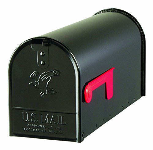 SOLAR, Gibraltar Series, Standard Size Galvanized Steel Rural Mailbox, NEW (Black) (Galvanized Steel Mailbox)