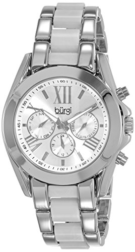 Burgi Women's BUR094SS Quartz Silver Quartz Watch with Silver Dial and Silver And White Bracelet