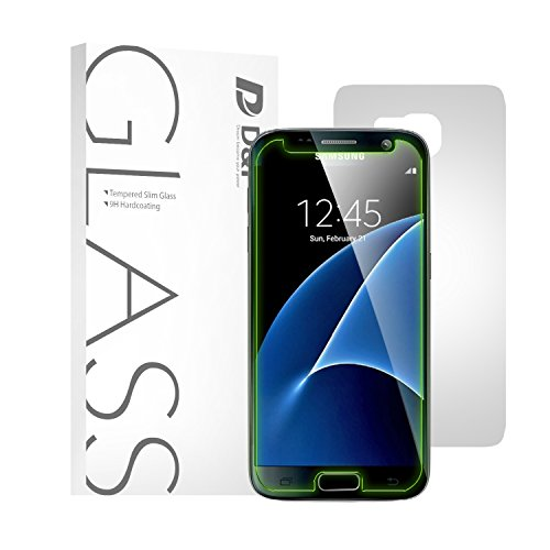 D&P [Neon Edge Series] Samsung Galaxy S7 Screen Protector [Cool Green Hornet]--Tempered Glass + Matte Backside Protector, Eyesight Protection, Olephobic Coating, 9h Hardness, Anti-Glare
