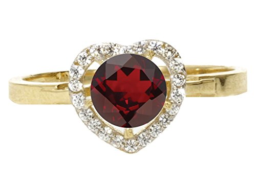 10k Yellow Gold Faceted Natural Genuine Red Garnet Round Solitaire Halo Heart Promise Ring Size (Gold Round Garnet Heart)