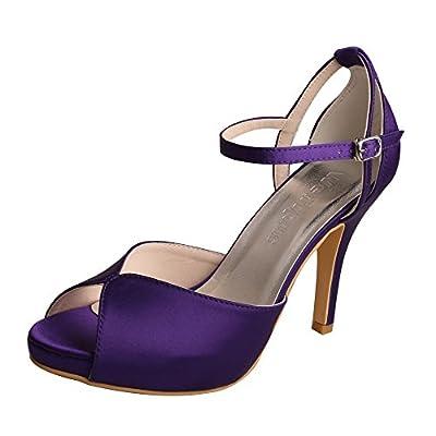 Wedopus MW661 Women's Peep Toe High Heels Platform Buckles Purple Satin Evening Party Prom Sandals