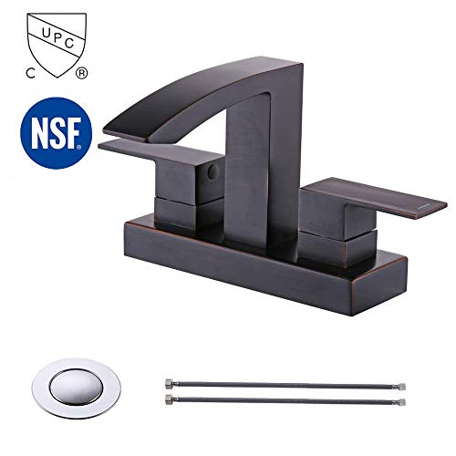 KES cUPC NSF Certified BRASS Two Handle Bathroom Waterfall Faucet with Drain Assembly Lavatory Vanity Sink Faucet 4-Inch Centerset Morden Square Hotel Style Oil Rubbed Bronze, L4101LF-7