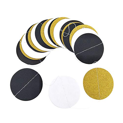 Orcbee  _Glitter Circle Polka Dots Garland Banner Bunting Party Decor Pink White and Gold (D) ()