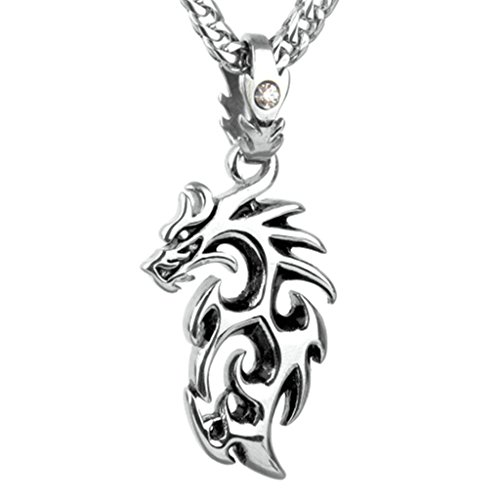 Epinki Fashion Jewelry Stainless Steel Men Necklace Punk Rock Flame Dragon Silver Pendant Necklace