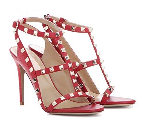 Platforms Lambskin Leather (Miyoopark LS0620 Women's Rivet T-Strap Red Lambskin Leather Fashion Sandals US 6.5)