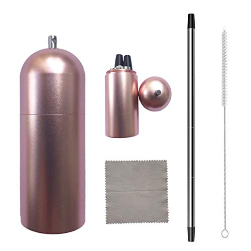 Morneve Collapsible Straw,Foldable Metal Straw,Reusable Straws with Case,Keychain,Portable,Dishwasher Safe,Stainless Steel Recyclable Drinking Straws for Tumblers,Smoothies,Cleaning Brush(Rose Gold) by Morneve
