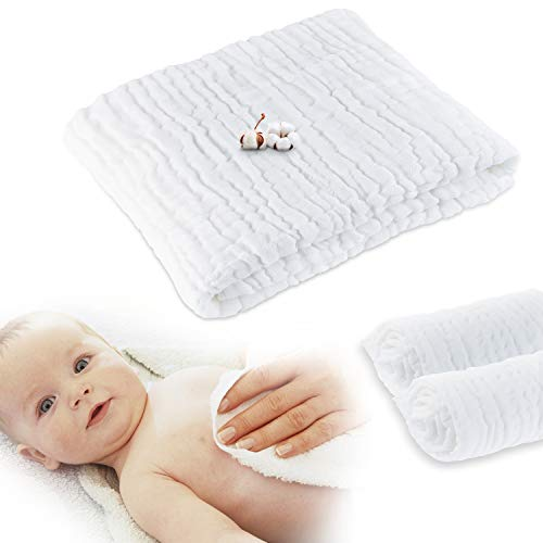 CXMYKE Muslin Baby Towels - Super Water Absorbent for Baby Bath Towels - Soft Newborn Baby Blankets, Medical Grade Natural Antibacterial, Suitable for Babys Delicate Skin - 41.5×41.5Inches