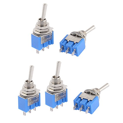 uxcell® AC 250V/3A 125V/6A ON-ON SPDT Self Locking Toggle Switch 5 Pcs