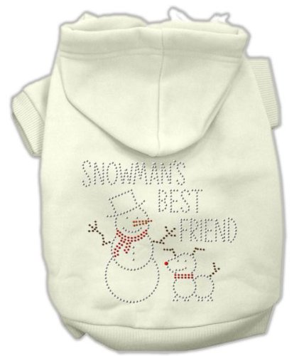 Mirage Pet Products 18-Inch Snowman's Best Friend Rhinestone Hoodie, XX-Large, Cream ()