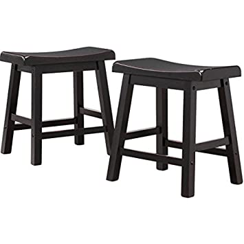 Ashby Bar Stools 18 , Set of 2, Black Rubbed