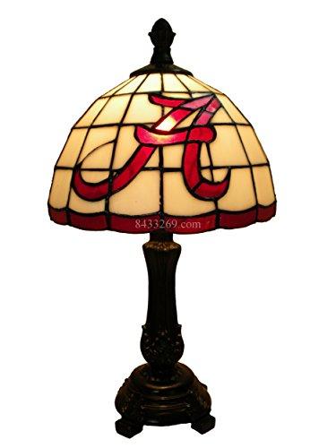 9 Inch NCAA Alabama Crimson Tide Tiffany Satined Glass Lamp