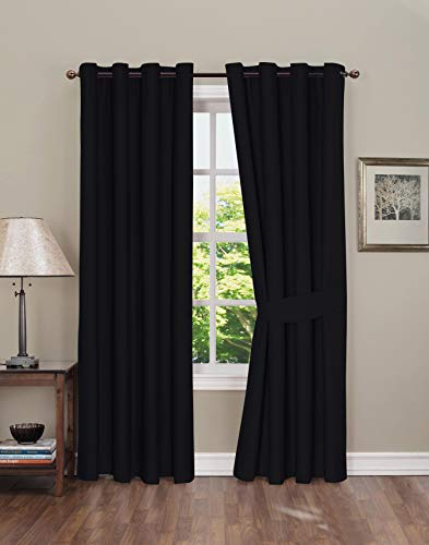 (Boston Linen Co. Blackout Curtain - Thermal Insulated Grommet Window Curtain for Bedroom - 2 Panels, tie-Backs Included - Black, 42x84 inch)